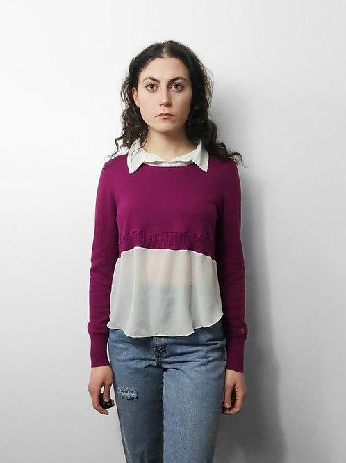 Magenta Collared Sweater Crop