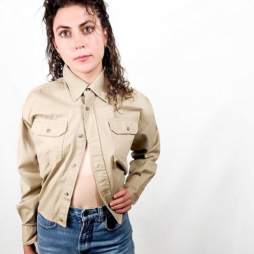 Khaki Button Up Crop