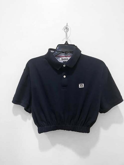 Navy Polo Crop with Cinched Waist