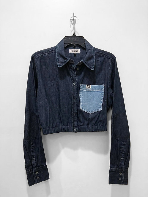 Two-Tone Denim Button Down Crop with Cinched Waist
