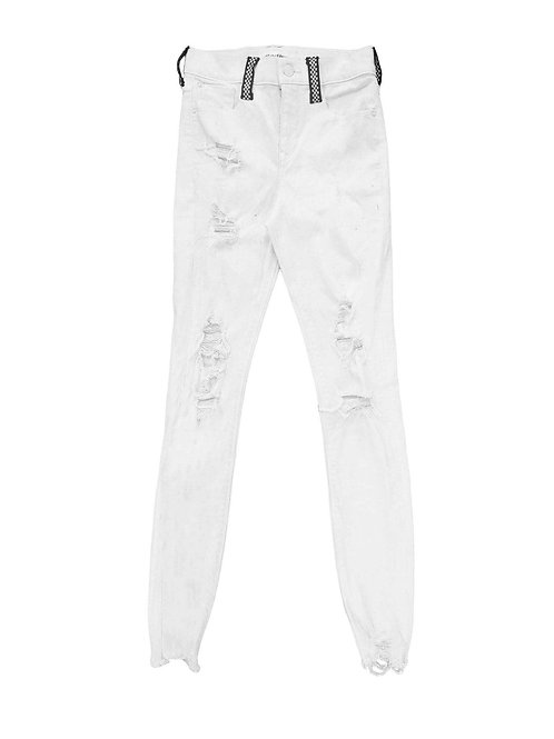 Checkered Belt Loop White Jeans