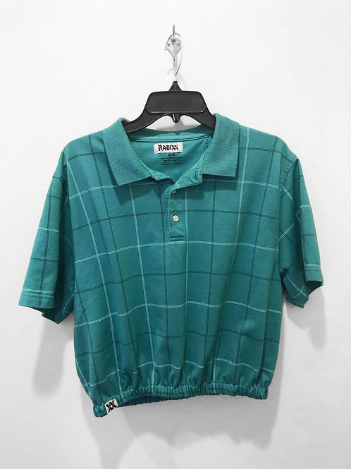 Teal Plaid Polo Crop with Cinched Waist