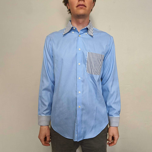 Striped Accented Blue Button Down