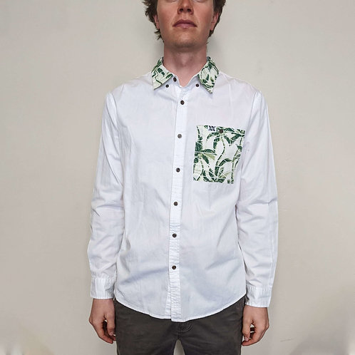 Palm Tree Accented White Button Down