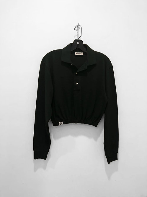 Black Long Sleeve Polo Crop with Cinched Waist