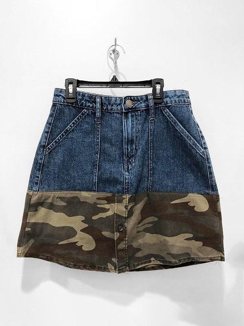 Colorblock Patchwork Camo Denim Skirt