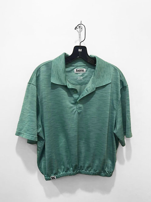 Green Polo Crop with Cinched Waist