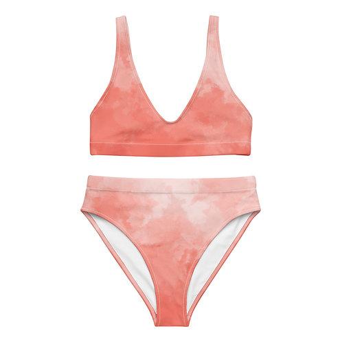 Sunset Watercolor Recycled High-Waisted Bikini