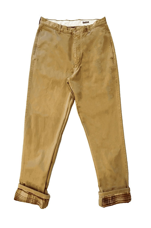 Red Plaid Cuffed Beige Pants