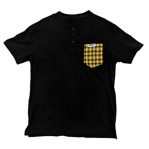 Yellow Plaid Pocket Buttoned Tee