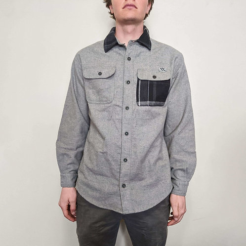 Plaid Accented Gray Button Down