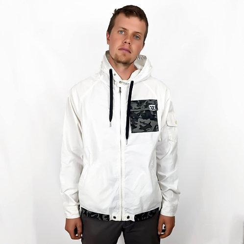 Camo Pocket White Zip Up Jacket