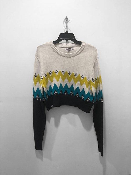 Blue & Yellow Ragged Striped Sweater Crop