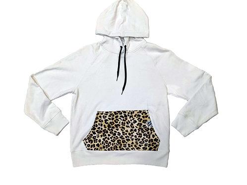 Cheetah Pocket White Hoodie