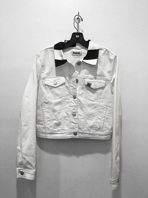 Striped Collar White Denim Jacket