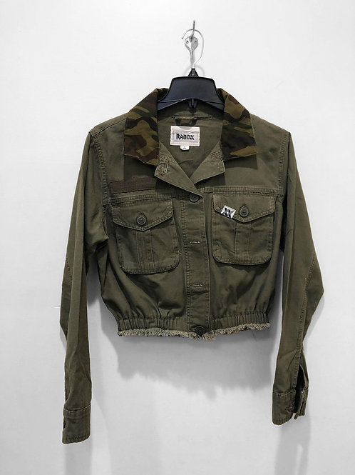 Camo Collar Button Down Crop with Cinched Waist
