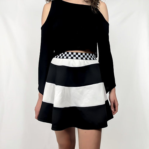 Checkered Belted Striped Skirt