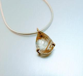 Golden rutiled pear shaped Quartz pendant