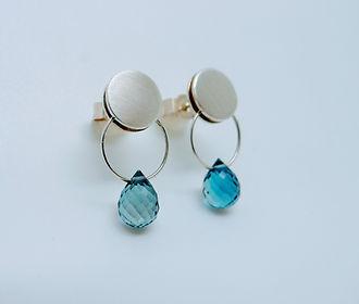 Blue Topaz and silver drop earrings