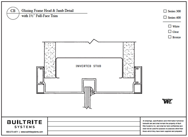 """Glazing Frame Head & Jamb Detail with 1 1/2"""" Full Face Trim"""