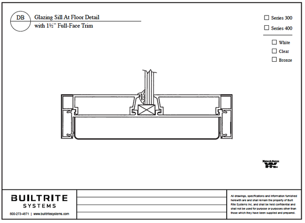 """Glazing Sill at Floor Detail with 1 1/2"""" Full-Face Trim"""