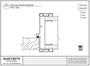 """Door Frame Head & Jamb Detail with 2""""Trim"""
