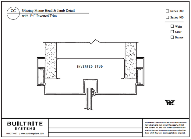 """Glazing Sill At Floor Detail with 1 1/2"""" Inverted Trim"""
