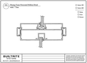 "Glazing Frame Horizontal Mullion Detail with 1"" Trim"