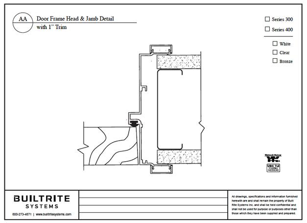 """Door Frame Head & Jamb Detail with 1"""" Trim"""