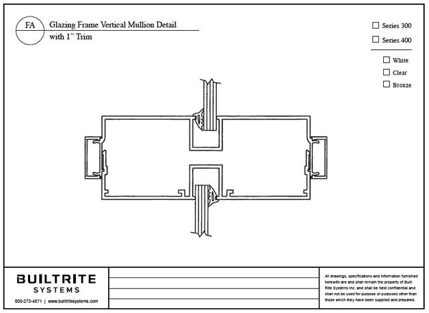 "Glazing Frame Vertical Mullion Detail with 1"" Trim"