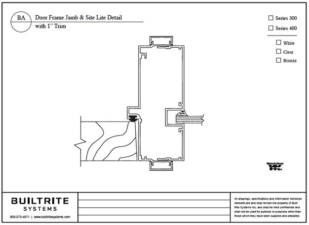 """Door Frame Jamb & Site Lite Detail with 1"""" Trim"""