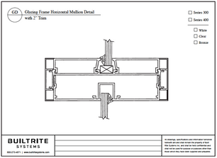 "Glazing Frame Horizontal Mullion Detail with 2"" Trim"