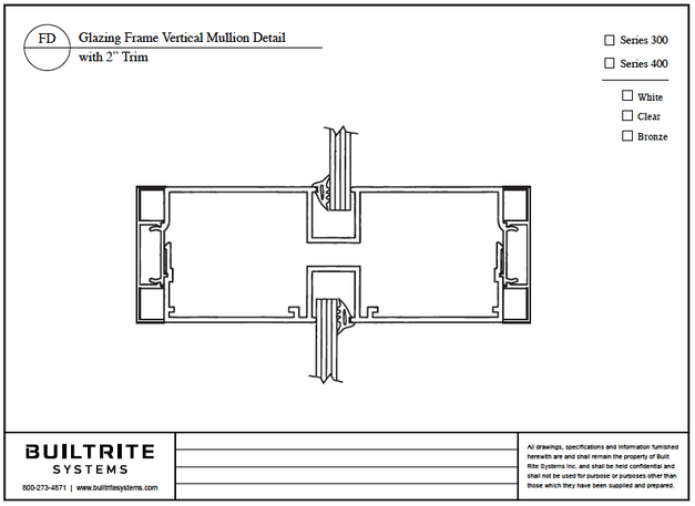 "Glazing Frame Vertical Mullion Detail with 2"" Trim"