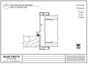 """Door Frame Head & Jamb Detail with 1 1/2"""" Full-Face Trim"""