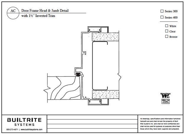 "Door Frame Head & Jamb Detail with 1 1/2"" Inverted Trim"