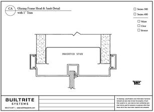 """Glazing Frame Head & Jamb Detail with 1"""" Trim"""