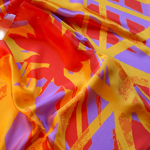 'CORAL REED' silk scarf