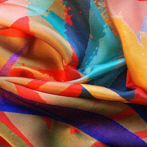 'TROPIC RED' silk scarf
