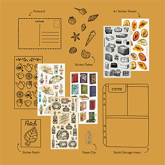 01_Vintage Stickii Objects Lineart Layou