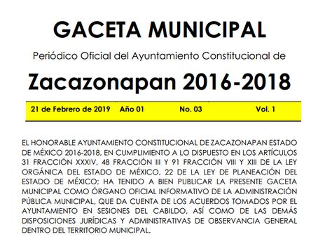Gaceta No. 03 Presupuesto de Ingresos y Egresos Definitivo 2019