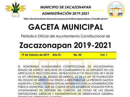 Gaceta Municipal del 19 de febrero de 2019