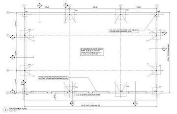 Concrete footing foundation drawing