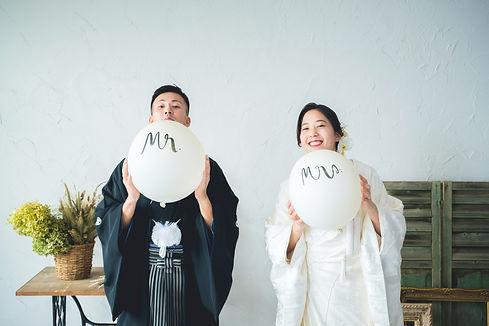 白無垢でスタジオ結婚写真