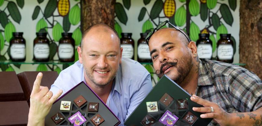 Belgian Chocolatier Dominique Persoone and Myself at press launch for Hidden Treasures.