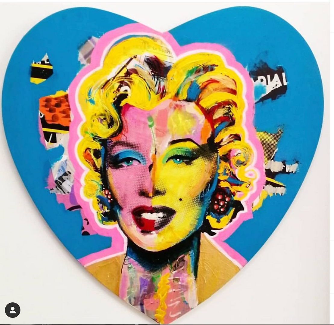 Heart Marilyn mixed media on canvas 2019