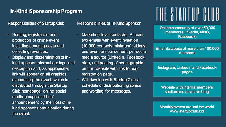 Startup Club In-Kind Sponsorship Program