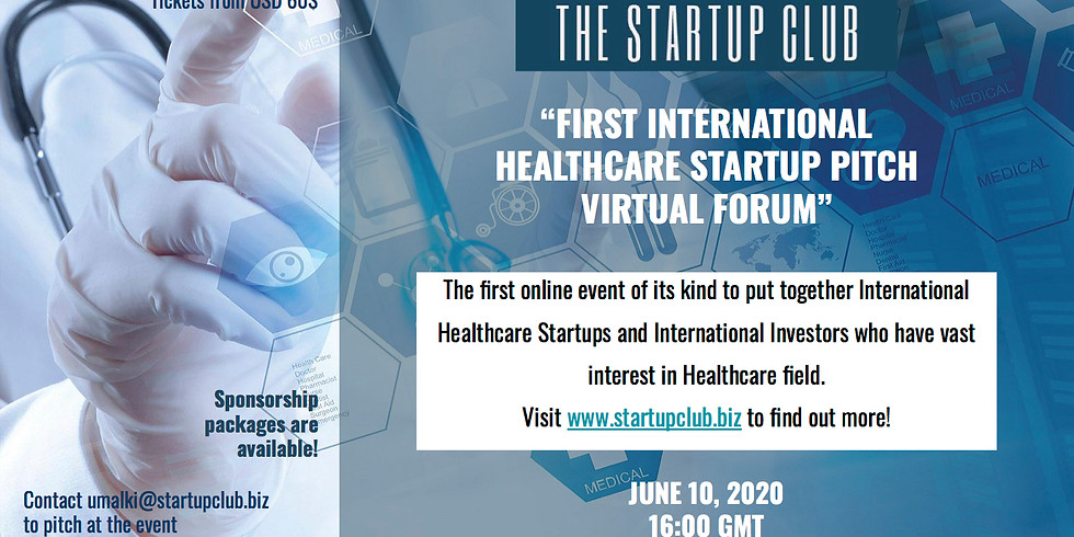 1st Startup Club Healthcare Pitch Virtual Forum