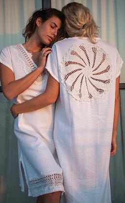 100% Handmade Linen Crochet Galabeya