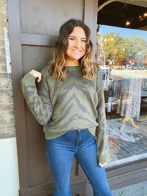 Olive Animal Mix Sweater