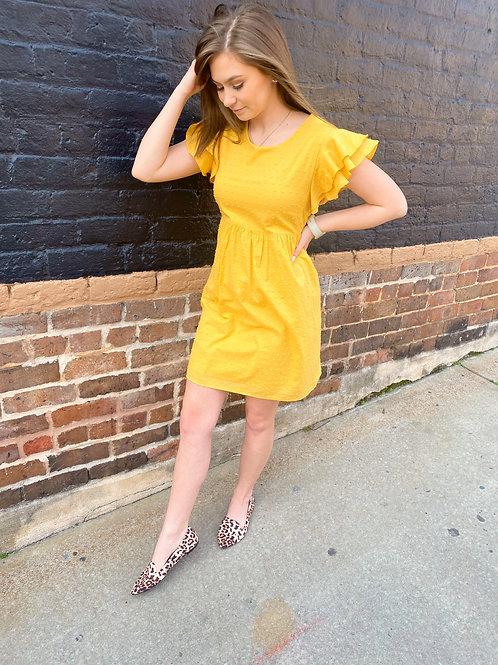 Babydoll Flutter Sleeve Dress